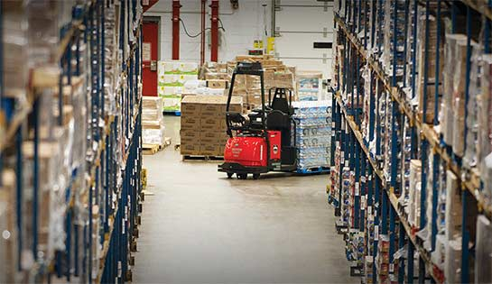 Automated warehouse storage, automatic forklifts, automated storage systems, Heubel Shaw automated storage, Raymond Courier Automated Pallet Truck