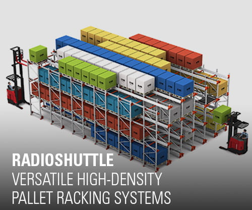 radioshuttle, pallet racking